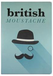 Deffter - Conteiner Book British Moustache Karton Kapak Çizgisiz Defter